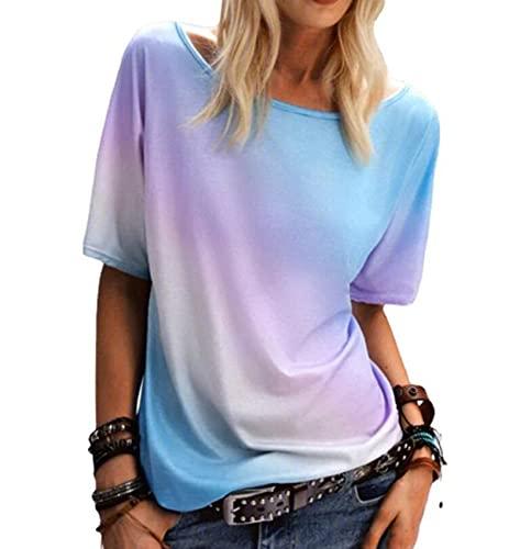 Sommer Damenbekleidung Rundhals-Regenbogen Print T-Shirt Lose lässige Kurzarm Tops