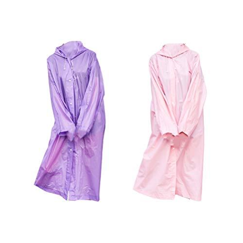 TOPBATHY 2Pcs Regenponcho Wiederverwendbarer Regenmantel mit Kapuze Klar Eva wasserdichte Regenbekleidung Jacke für Erwachsene Sport Wandern Radfahren (Pink + Lila)