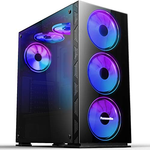 Pansonite Airflow ATX Mid-Tower Chassis PC Gaming Case with Tempered Glass Side Panel, E-ATX Supported, 6 RGB Fans Pre-Installed (G01-DS6-0)