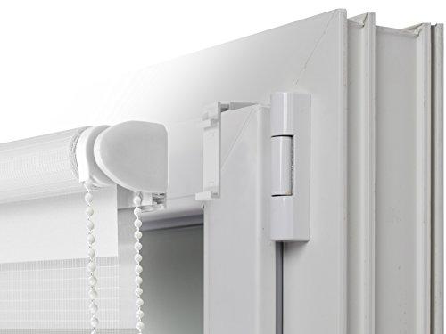 Doppelrollo in 4 Farben & in 8 Größen – mit Klemmfixierung am Fensterahmen und fest montierter Trägerschiene – kinderleichte 3-Step Montage, ca. 80 x 150 cm, weiß - 7