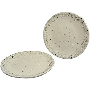 RoRo 8 Inch Ceramic Stoneware White/Cream Speckled Appetizer Plate Set of 2