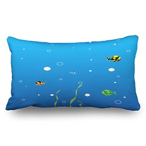 HeroWoW Kussenslopen Aquarium Kleine Vissen Zeewier Luchtflacons Texturen Beer Aangepaste Decor Kussenslopen Aangepaste Home Decoratieve Kussenslopen