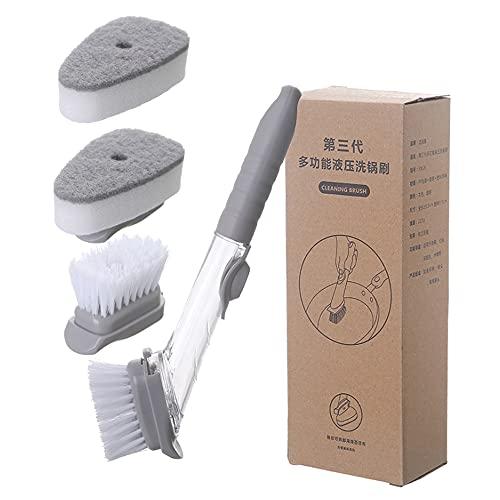 feichang Cepillo de limpieza de cocina, dispositivo para lavar platos, 2 cabezales de cepillo, 2 esponjas automáticas, cepillo de lavado con mango largo, herramientas hidráulicas (color: amarillo)