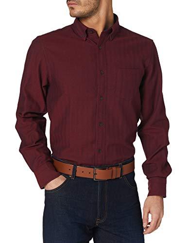 GANT D1. TP Herringbone Solid Reg BD Camisa, Rojo Caoba, S para Hombre