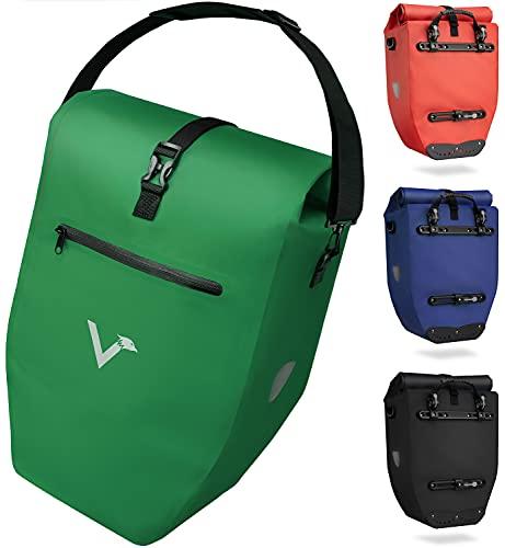 Valkental - Große & wasserdichte Gepäckträgertasche - 28L Füllvolumen - Fahrradtasche für Gepäckträger mit Reflektoren in Grün