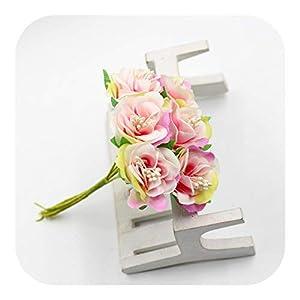 JIANS 6Pcs/lot Colorful Silk Rose Stamen Artificial Flowers Wedding Home Decoration DIY Handcraft Garland Gift Scrapbooking Flower-Pink-