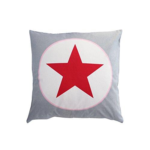 Krasilnikoff Kissenbezug Big Star Grau Roter Stern