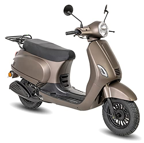 Motorroller GMX 460 Retro Classic R 25 km/h braun matt Mofaroller Scooter Retroroller 1,7 kW Benzinroller mit Straßenzulassung 10 Zoll Räder Elektro- und Kickstarter