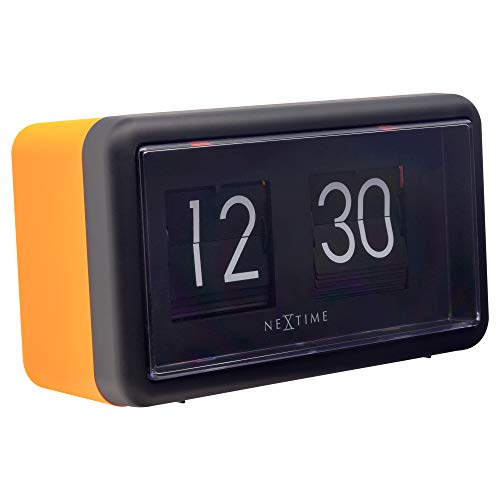 Flip Clock NeXtime - Reloj de Mesa o Pared (18 x 10 x 7 cm), Color Naranja y Negro