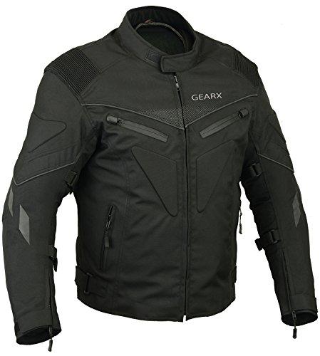 Rücken gepolstert wasserdichtes, atmungsaktive Jacke Motorrad - Schwarz, XXL