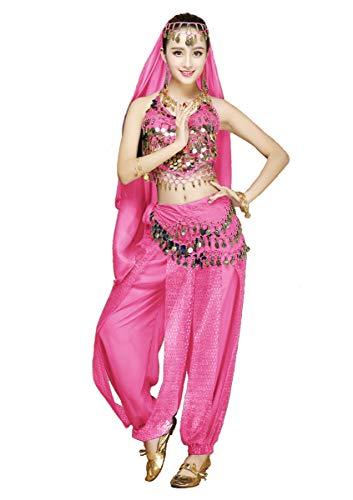 Grouptap Conjunto de Disfraz de 4 Piezas para Bailarina del Vientre para Mujer Rosa con pantalón Superior Velo de Cabeza Cadera Bufanda para Danza egipcia árabe (Rosa, 150-170 cm, 45-65 kg)