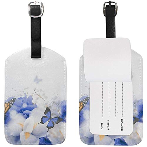 Schmetterlinge im Blumendschungel Kofferanhänger Travel ID Label Leder für Gepäck Koffer 2 Stück