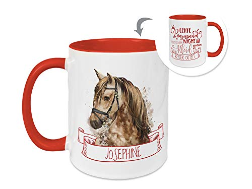 GRAZDesign Tasse mit Namen Kinder, Mädchen Pferd, Geschenk personalisiert, Namenstasse/Becher Rot innen + Henkel