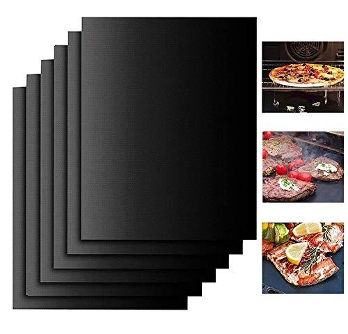 YOWAO Grillmatten für Gasgrill - Backpapier Wiederverwendbar Dauerbackfolie für Backofen Nicht Klebrig Wiederverwendbar Leicht zu Reinigen für Grill und Backofen (Schwarz- 6er Set)