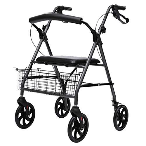 NYPB Aluminium Rollator Klappbar, Feststellbremse, Gehwagen mit Korb und Gepolstertem Sitz, EIN Gebogener Röhrenförmiger Rücken, Vorderrad Universalrad, ältere und Behinderte Patienten