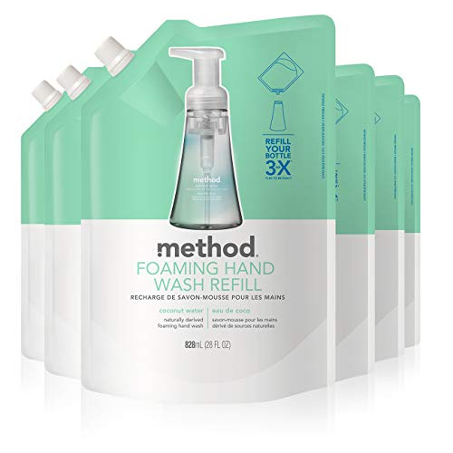 Method Foaming Hand Soap, Refill, Coconut Water, 28 Fl Oz (Pack of 6)
