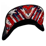 S A USA Under Brim Flat Snap Back Hat - UPF 50+ Flat Snap Back Hat with Embroidered Logo