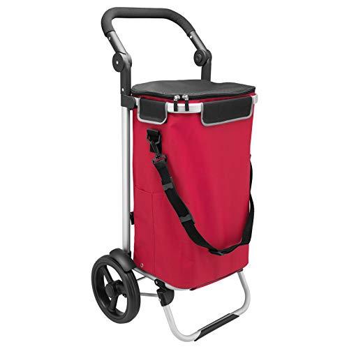 bremermann Einkaufstrolley JEEBEL, Handwagen, Einkaufswagen mit Abnehmbarer Tasche, Verstellbarer Griff (Rot)
