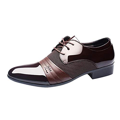Celucke Herren Anzugschuhe Business Oxford Schuhe, Lederschuhe Schnürhalbschuhe Smoking Lackleder Hochzeit Derby Leder Brogue Schwarz Braun 38-47