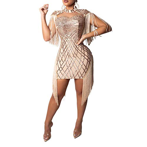 Sprifloral Sexy Bodycon Mini Dress – Women Sequins Tassels Mock Neck Party Club Pencil Dresses Birthday