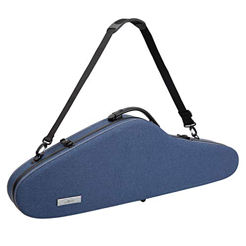 Aileen Violin Hard Case 4/4 Full Size Luxury Fabric Covered with Hygrometer Suspension, Blue