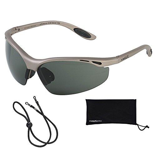 voltX 'Constructor' POLARISIERT Schutzbrille, CE EN166F Zertifiziert/Sportbrille für Radler (Keine Vergrößerung) + Anti-Fog UV400 Linse – Polarized Safety Glasses