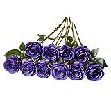 DuHouse 10 rosas falsas flores de seda artificiales de imitación de rosas rosas para arreglos de boda, centro de mesa, fiesta, hogar, cocina, decoración (morado)