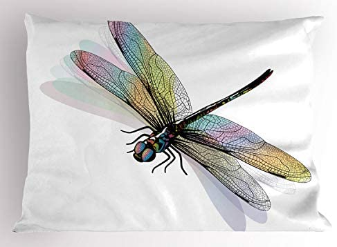 Ambesonne Dragonfly Pillow Sham Shady Dragonfly Pattern with Ornate Lace Style Beauty Wings product image