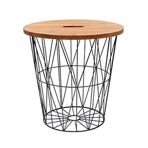 Magazine Basket Magazine Shelf Storage Rack Wrought Iron Small Coffee Table Side Table Solid Wood Small Round Table Mini Bed Table Best Gift File Placement Rack