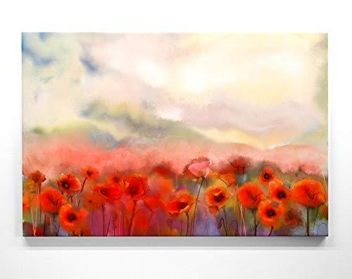 Mohnblumen Bild auf Leinwand – Mohnfeld wie gemalt - als 110x50cm großes XXL Leinwandbild. Wandbild als Deko für Wohnzimmer & Schlafzimmer. Aufgespannt auf Holzrahmen