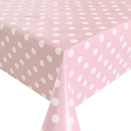 Spots Pink Weiß Tischdecke Wachstuch, abwischbar, Vinyl PVC Cut zu Größe Polka Dot Pink, Vinyl plastik, rose, 180_x_140_cm