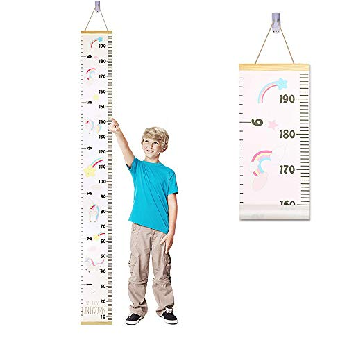 Messlatte Kinder, Baby Wachstum Wall Chart Höhe Diagramm Abnehmbar Baby Messtabelle Leinwand Holz Wandbehang Kinder Messtabelle für Kinderzimmer Schlafzimmer Wanddekoration (Einhorn)