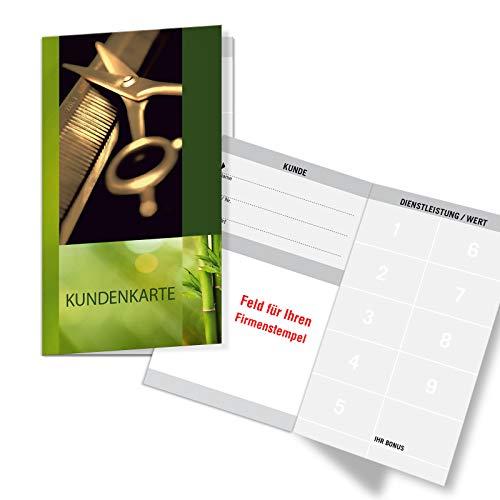 100 Bonuskarten/Treuekarten mit 9 Feldern, für Friseursalon Coiffeur Frisör. Praktisches Scheckkartenformat. Außenseiten glänzend. K593