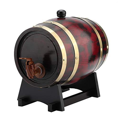 Eiken vat, 3L huishoudelijk eiken, houten wijnvat vat emmer thuisbrouwapparatuur, houten vat intern bakken eiken vaten, voor opslag van fijne wijn, cognac, whisky, tequila, enz