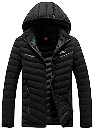 WANGXIAO donsjas voor heren, winddicht, afneembare capuchon, dikke winterjas, bovenkleding, mantel winterjas, heren, waterdicht, warmer 2in1 parka, zwart-4XL
