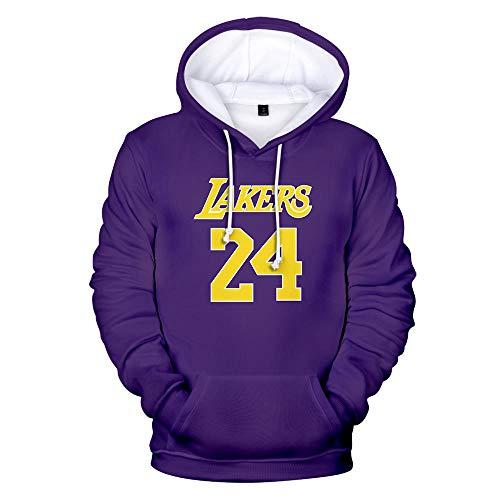 GEZIBABA NBA Lakers Sudadera con Capucha de Baloncesto para Hombre 24# Kobe Bryant Sudadera con Capucha para Hombre Sudadera con Capucha Estampada 3D informal-5XL_Ein