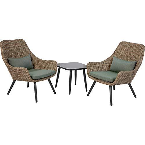 Euromate GmbH Lounge-Set Aliceville 3-teilig aus Polyrattan Grün-Grau |Witterungsbeständige Gartenmöbel für Garten, Terrasse oder Balkon