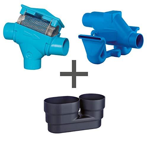 Regenwasserfilter Zisternenfilter 3P Spar-Set PF mit Edelstahlsieb für den Einbau in die Zisterne, Anschluss DN100, Höhenversatz 195mm. Für die Regenwassernutzung im Haus und zur Gartenbewässerung.