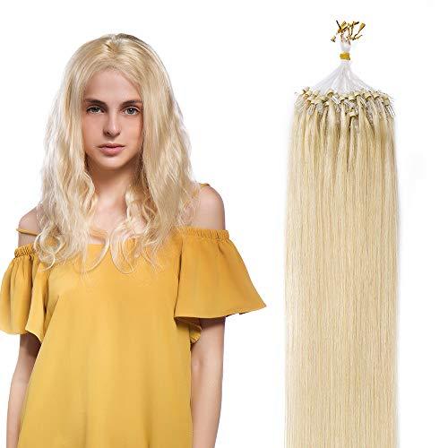 "Extension Cheveux Naturel Pose a Froid Anneaux Rajout Naturel Cheveux Humain - Remy Human Hair Extensions Micro Ring (#613 Blond très clair, 22""/55cm, 50g)"