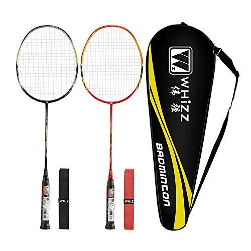 Whizz Kratzfestes Design Carbon Badminton Set Schläger Racket Ultraleicht Graphit 2 STK mit Schlägertasche & 2 Griffbänder (S520 Schwarz+Rot)
