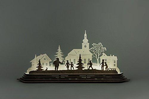 Teelichthalter Weihnachtszauber Länge ca 57 cm NEU Bausatz Motivleuchte Lichtbogen Schwibbogen Holz Erzgebirge Seiffen Beleuchtung Weihnachten Geschenke Weihnachtsmann Ruprecht Schneemann Weihnacht