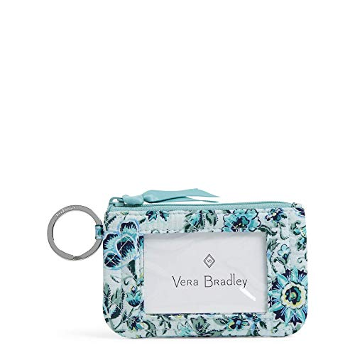 Vera Bradley Women's Signature Cotton Zip ID Case Wallet, Cloud Vine, One Size