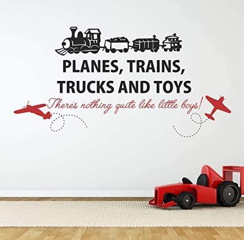 Calcomanía de pared de aviones trenes camiones - 36 de ancho x 20 de alto, viene con etiqueta de nombre gratuita de 12 pulgadas, calcomanías para guardería, pared de coches, camiones, aviones, trenes, bicicletas, calcomanías, cita para niños U27