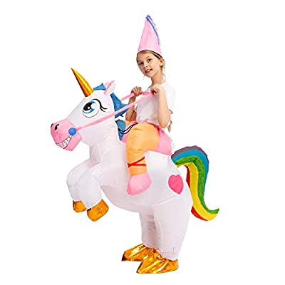 Spooktacular Creations Inflatable Costume Unicorn Riding a Unicorn Air Blow-up Deluxe Halloween Costume (7-10 Yrs)