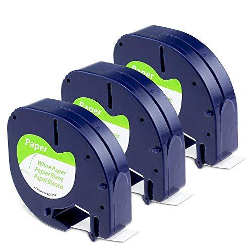 Aken kompatibel Etikettenband als Ersatz für Dymo Letratag Etikettenband Papier, Dymo letratag Paper White 12mmx4m Letratag Band für Beschriftungsgerät Dymo Letratag LT-100H LT-100T LT-110T XR, 3 Pack