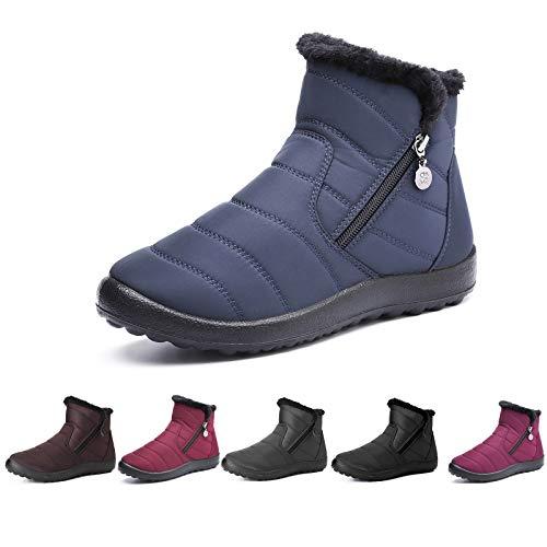 Botas de Nieve para Mujer,Camfosy Botines de Invierno Impermeables Piel Interior cálida Zapatos Planos Tacón Plano Ciudad Botas Antideslizante Cómoda Negro Azul Rojo 2020