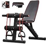 arteesol Banc de musculation pliable avec poids pour la gymnastique à la maison, entraînement de tout le corps, équipement de musculation, système de gym corporelle, etc. (Gris)