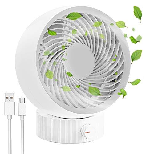 Ventilatore da silenzioso scrivania con velocità gratuite, Ventilatore da tavolo mini USB portatile RATEL, regolazione a 20 gradi, ideale per viaggi in ufficio, scrivanie o comodini (bianco)