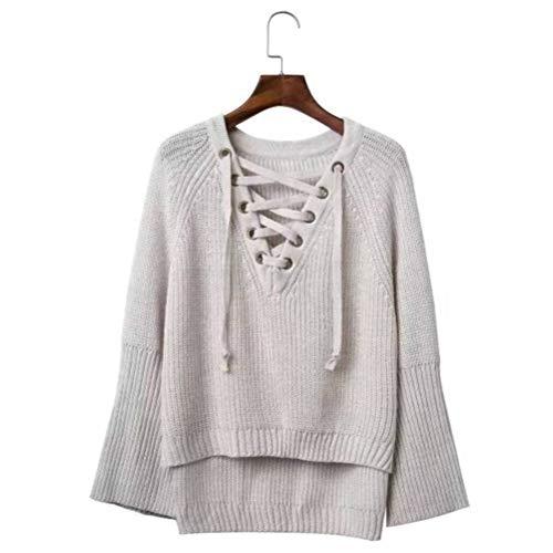 JUSTTIME Damestrui en pullover herfst Koreaanse stijl spel alle losse V-hals kant trui dames pullover shirt trompet mouwshirt, JUSTTIME Eén maat off-white