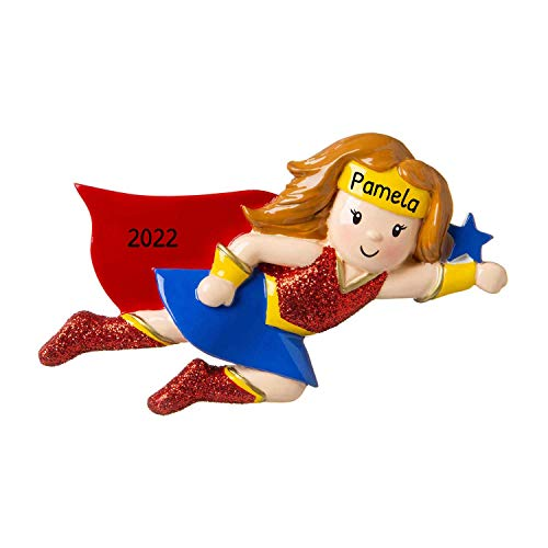 Personalized Super Hero Girl Christmas Tree Ornament 2020 - Fictional Character Red Yellow Blue Costume Cape Best Toddler Heroic Cartoon Wonder Warrior Woman Toy Star Gift Year - Free Customization